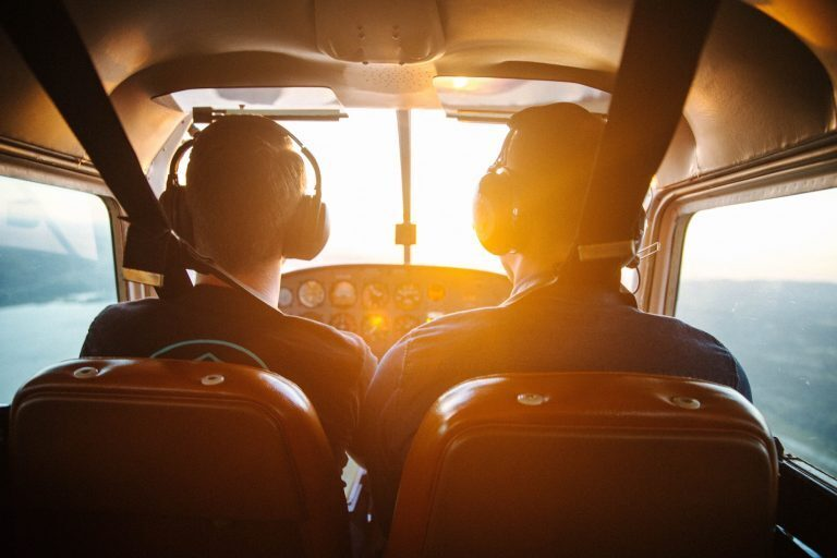 Pilots flying and airplane